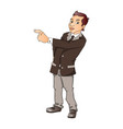 portrait of businessman pointing vector image vector image