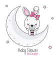 pretty bunny girl on the moon vector image vector image