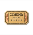 Realistic retro paper cinema ticket vector image