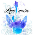 rock music poster with blue watercolor guitar vector image