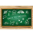 School green Board on wooden background vector image vector image