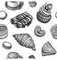 seamless pattern with french desserts vector image vector image