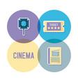 set icons of cinema movie film vector image