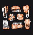 set jazz music lettering handwritten vector image vector image