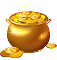 St Patrick Day gold pot with coins vector image vector image