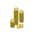 stack of golden coins isolated icon vector image