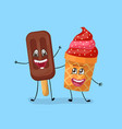 strawberry and chocolate ice cream characters vector image vector image