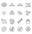 sugar cubes line icons and sugar free labels vector image