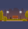 summer or spring night in city park landscape vector image vector image