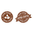 super coffee stamp seals with grunge texture in vector image vector image