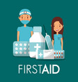 surgeon doctor and nurse with first aid medicine vector image vector image