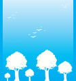 trees and birds in blue background vector image vector image
