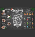 vintage chalk drawing christmas menu design vector image vector image
