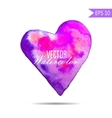 Watercolor painted pink heart element for vector image vector image