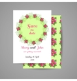 Wedding Invitation With Pink Flowers vector image vector image