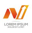 Logo Letter NV Arrow vector image