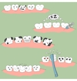 cute cartoon tooth expression set vector image