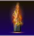 burninng tablet computer with fire flame vector image