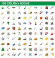 100 colony icons set cartoon style vector image