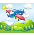 a colorful airplane above hills vector image