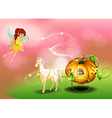 A fairy and a pumpkin cart vector image vector image
