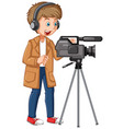 a professional cameraman character vector image