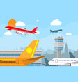 airport control tower and flying airplane vector image vector image