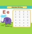 alphabet letter e-elephant exercise with cartoon