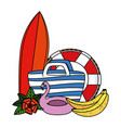 beach bag with surfboard and summer icons vector image vector image