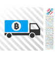 bitcoin delivery lorry flat icon with bonus vector image vector image