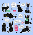 black cats funny patches black cats sticker pack vector image vector image