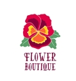 Bright logo for a flower shop bouquet with pansy vector image