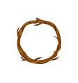brown round dry wreath with tree branches vector image vector image