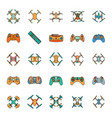 cartoon drone icons set vector image vector image