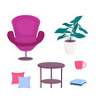 chair furniture armchair with pillow and table vector image