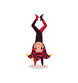 Cheerful joker flat character standing upside down