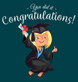 congrats colorful flat poster with happy graduate vector image