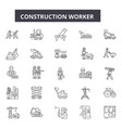 construction worker line icons for web and mobile vector image vector image