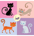 four cats and one mouse set vector image