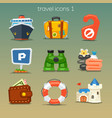 funny travel icons-set 1 vector image