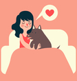 Girl and Dog on Couch vector image vector image