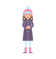 girl warm winter cloth with cup of hot tea drink vector image vector image