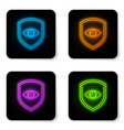 glowing neon shield and eye icon isolated on vector image vector image
