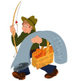 Happy cartoon man walking with fishing rod vector image