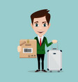 happy man with luggage and cardboard box on vector image