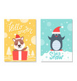 happy winter greeting cards penguin bear in box vector image