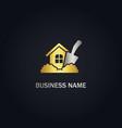 home garden tool gold logo vector image