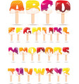 Melting Ice Cream Alphabet Flat Banner vector image
