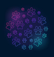 paw prints round bright outline vector image