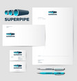 pipe logo factory identity vector image vector image